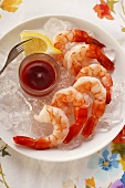 Shrimps with lemon and tomato dip