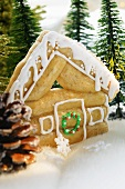 Maple log cabin (gingerbread house with maple syrup, USA)