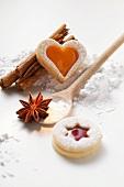 Jam biscuits with baking ingredients