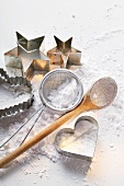 Baking utensils and icing sugar
