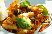 Penne rigate with tomato sauce, olives and basil
