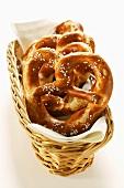 Salted pretzels in bread basket