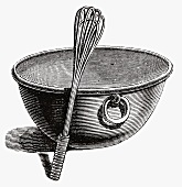 Mixing bowl with whisk (Illustration)