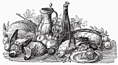 Still life: poultry, vegetables, fruit & wine (Illustration)