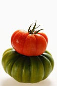 Green and red beefsteak tomato