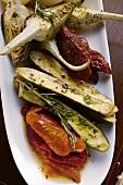 Antipasti platter of marinated vegetables