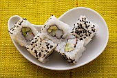 California rolls with avocado and surimi