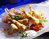 Shrimps in beer batter with dips