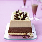 Chocolate ice cream cake with Baileys liqueur