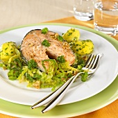 Salmon cutlet with parsley potatoes and savoy