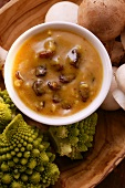 Peanut and raisin dip, romanesco and mushrooms