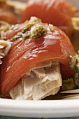 Pepper rolls with tuna filling and capers