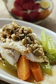Sea bass with nut butter, celery and carrots