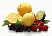 Citrus fruits, redcurrants and raspberries