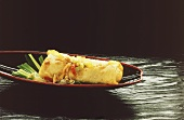 Spring roll on Asian plate