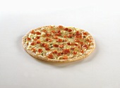 Pizza with cheese and diced peppers
