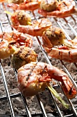 Shrimp kebabs on barbecue rack