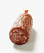 Venison sausage (salami), a piece cut off