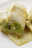 Fish rolls with pesto and white sauce