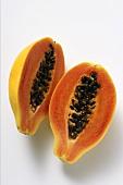 Two papaya halves