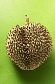 Durian on green background