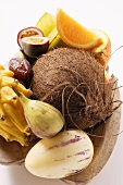 Exotic fruit still life with coconut in wooden bowl