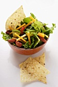 Mexican salad with vegetables, cheese and tortilla chips