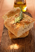 Focaccia with rosemary; olive oil