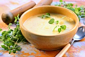 Creamed potato soup with fresh herbs
