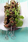 Spicy kebabs with coriander leaves from Morocco