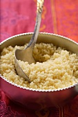 Couscous in silver bowl