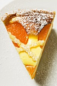 Piece of cheesecake with apricots & icing sugar (overhead view)