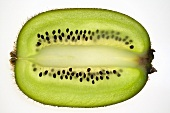 Kiwi fruit (lengthwise slice), backlit