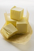 Cubes of butter on paper