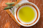 Olive oil in bowl on napkin, olive branch