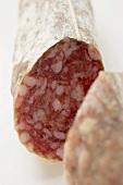 Italian salami with a piece cut off