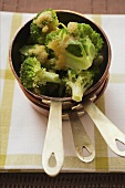 Broccoli with buttered breadcrumbs in pan