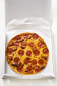 Whole salami and cheese pizza in pizza box