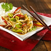 Strips of turkey with vegetables and rice (China)
