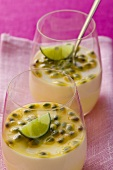 Passion fruit cream with coconut and lime in glasses