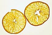 Slices of deep-fried orange, backlit