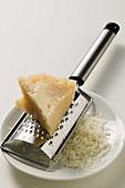 Piece of Pecorino with grater