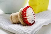 Brush, tea towel and sponge