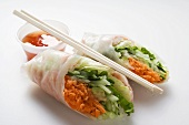 Vietnamese spring rolls with vegetable filling & chili sauce