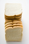 White sliced bread, in a pile