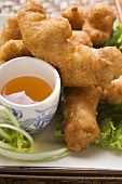 Asian chicken nuggets with apricot sauce