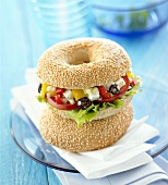 Greek salad in bagel