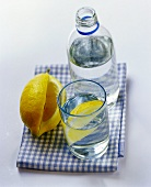 Mineral water in bottle & glass & lemon with piece cut off