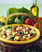 Mixed salad with cucumber, tomatoes, olives and feta