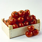 Wooden crate of tomatoes